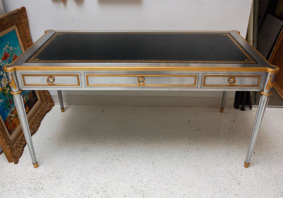 Steel And Bronze Dore Writing Desk With Leather Top By