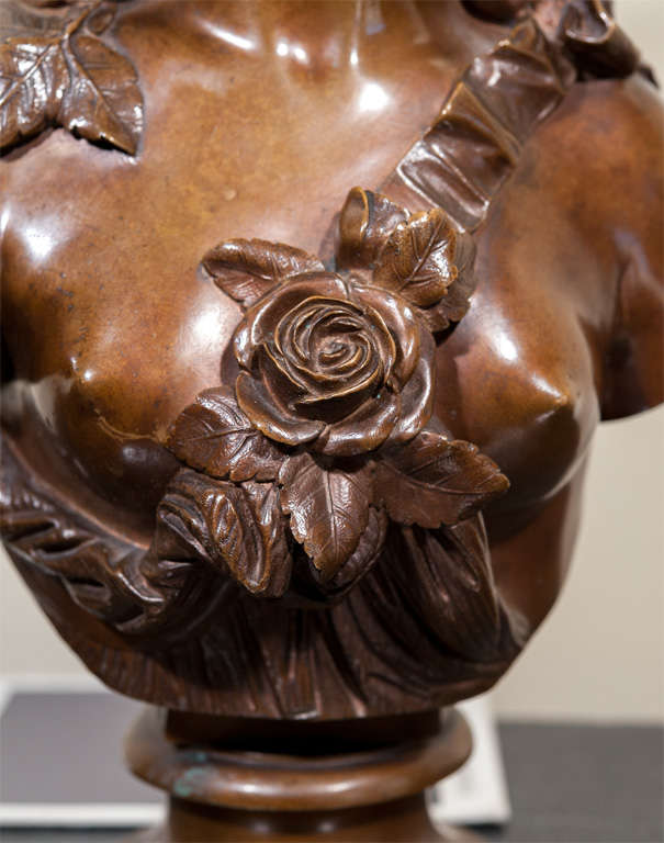 French Bronze Bust of a Lady, Signed. For Sale