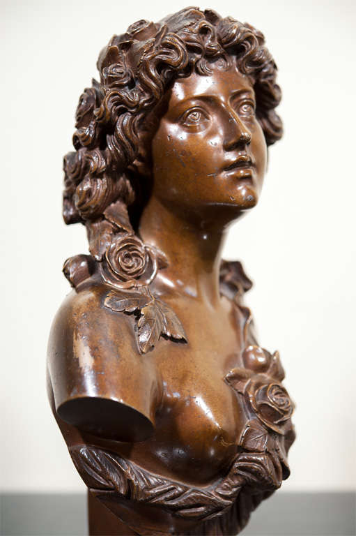 20th Century Bronze Bust of a Lady, Signed. For Sale