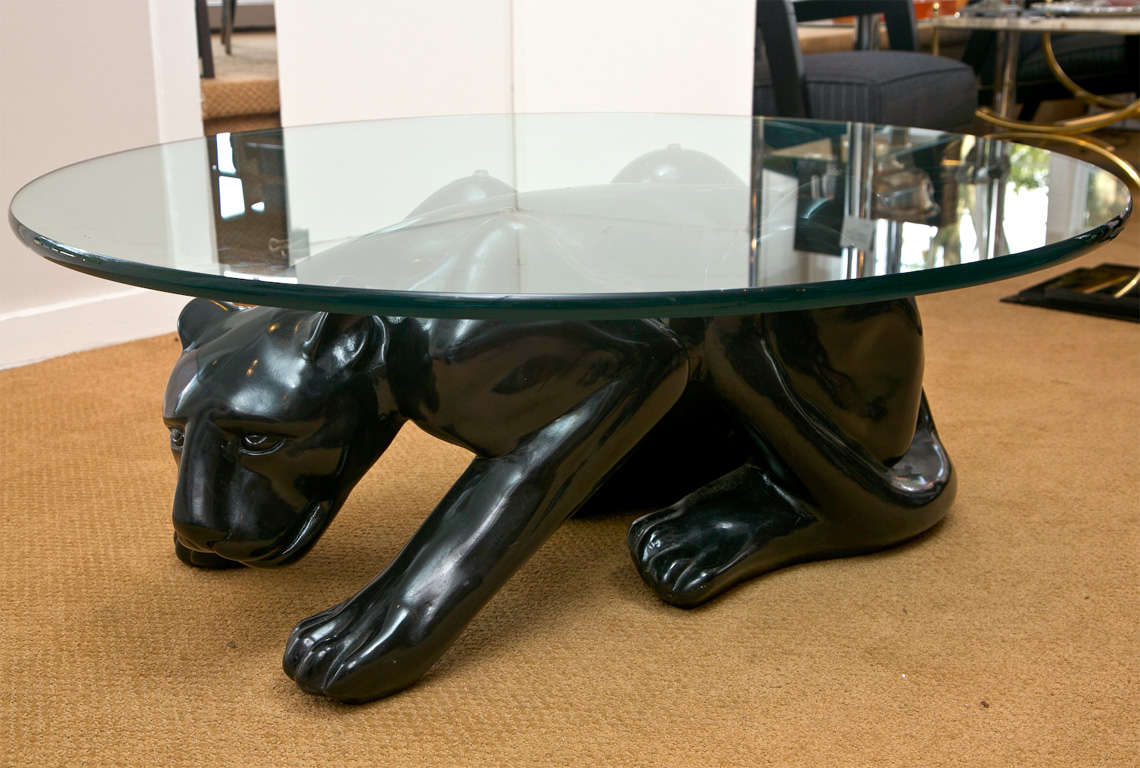American Black Panther Cocktail Table For Sale
