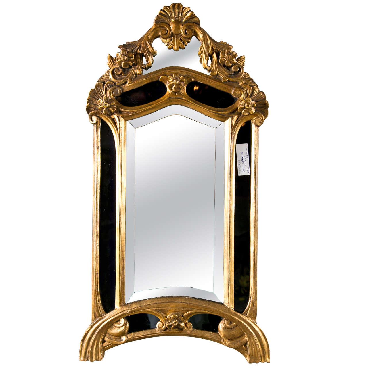 Art nouveau style giltwood mirror by maison jansen at 1stdibs for Miroir art nouveau