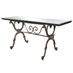 Neoclassical Style Iron Base Console Table