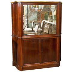 Art Deco Style Mahogany French Bar Or Serving Cabinet Distressed Mirror Doors