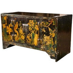 Antique Chinoiserie Style Wooden Chest Hand Painted Scenes Birds Flowers