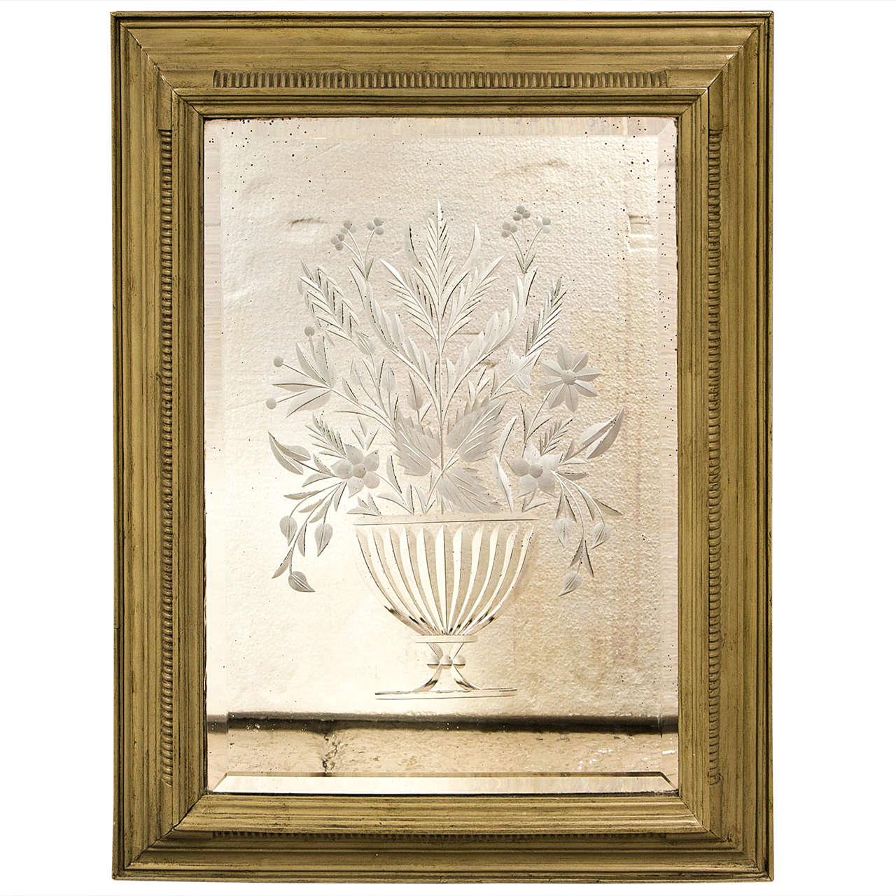 Decorative framed etching mirror at 1stdibs for Ornamental mirrors