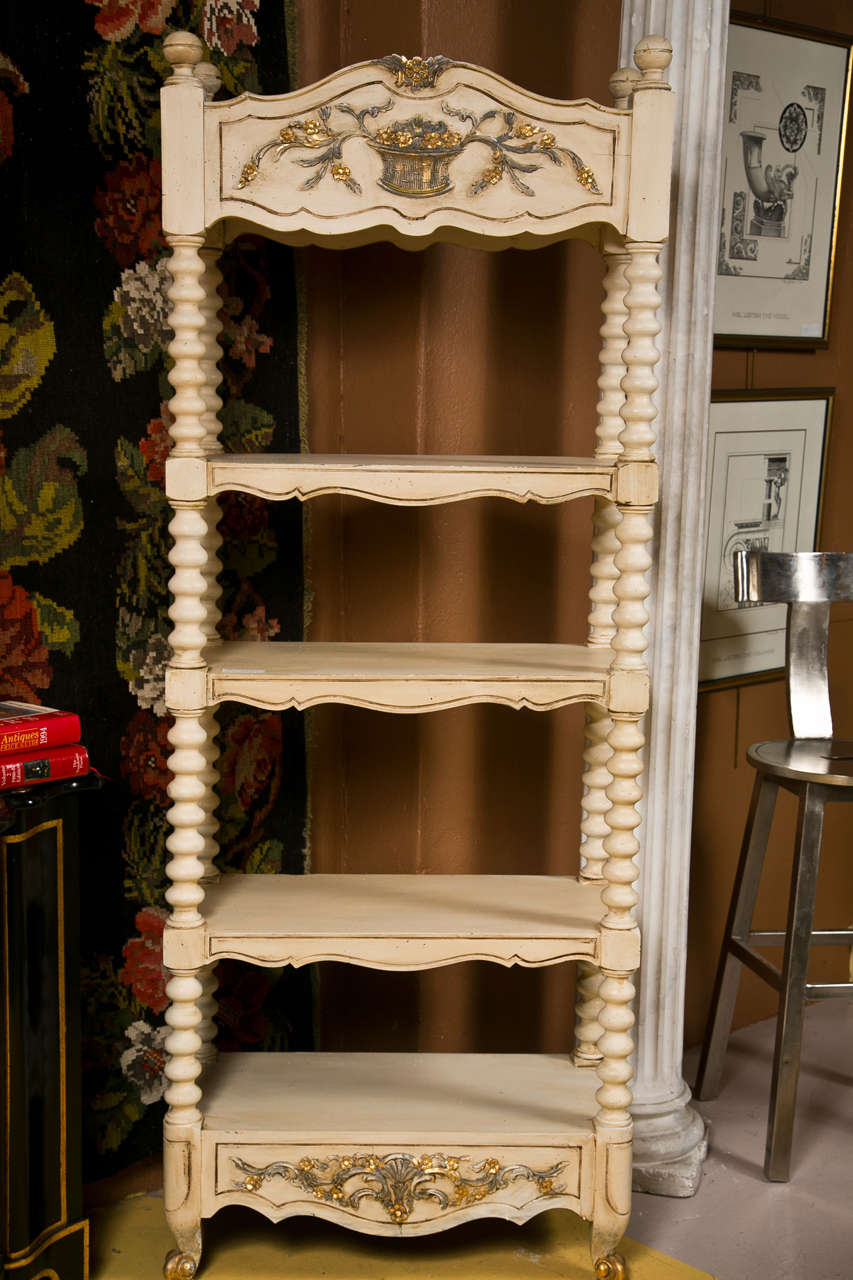pair of decorative painted etagere bookcases for sale at. Black Bedroom Furniture Sets. Home Design Ideas