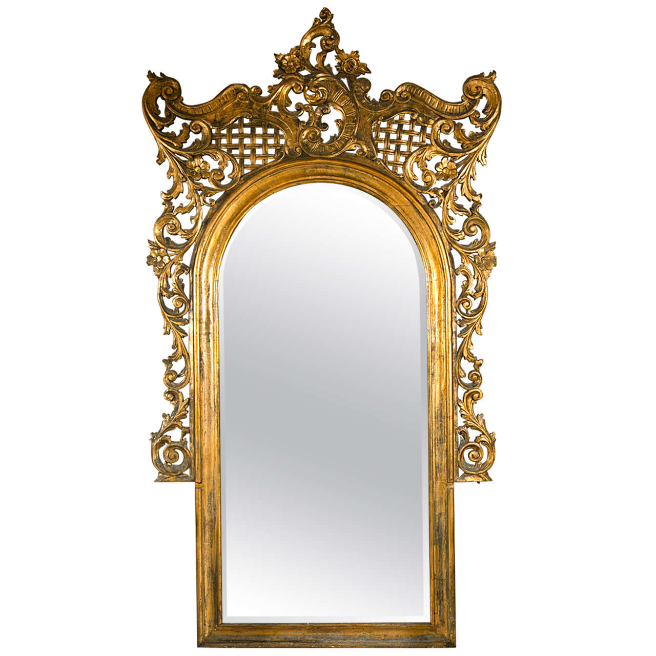 19th century monumental french rococo floor mirror at 1stdibs for Floor mirror italian baroque rococo style