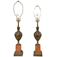 Pair of Bronze Ewers Mounted as Lamps