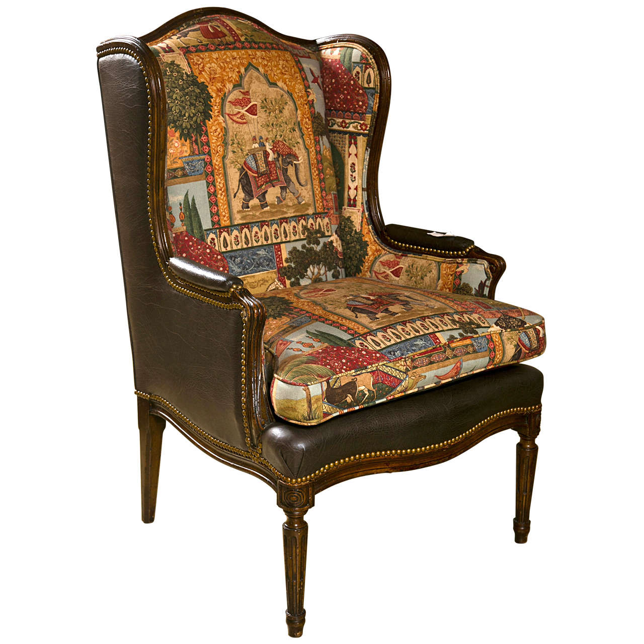 french louis xvi style wing back bergere chair at 1stdibs. Black Bedroom Furniture Sets. Home Design Ideas