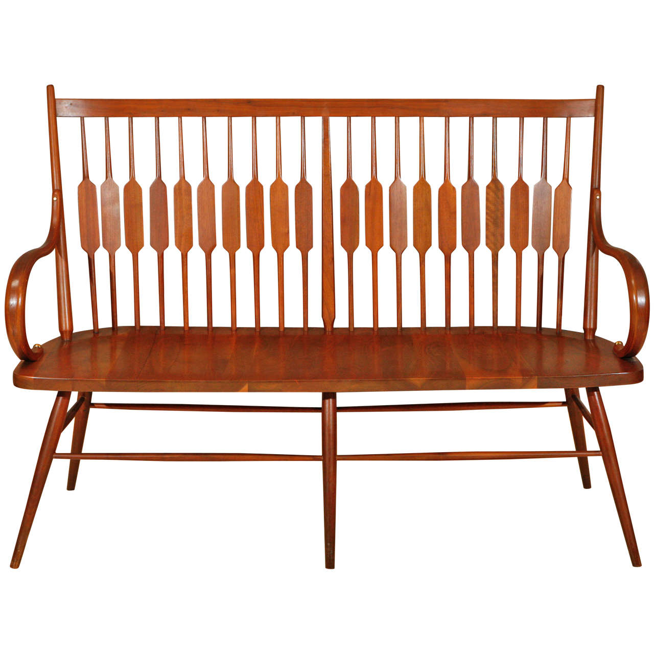 Rare Walnut High Back Declaration Bench By Drexel At 1stdibs