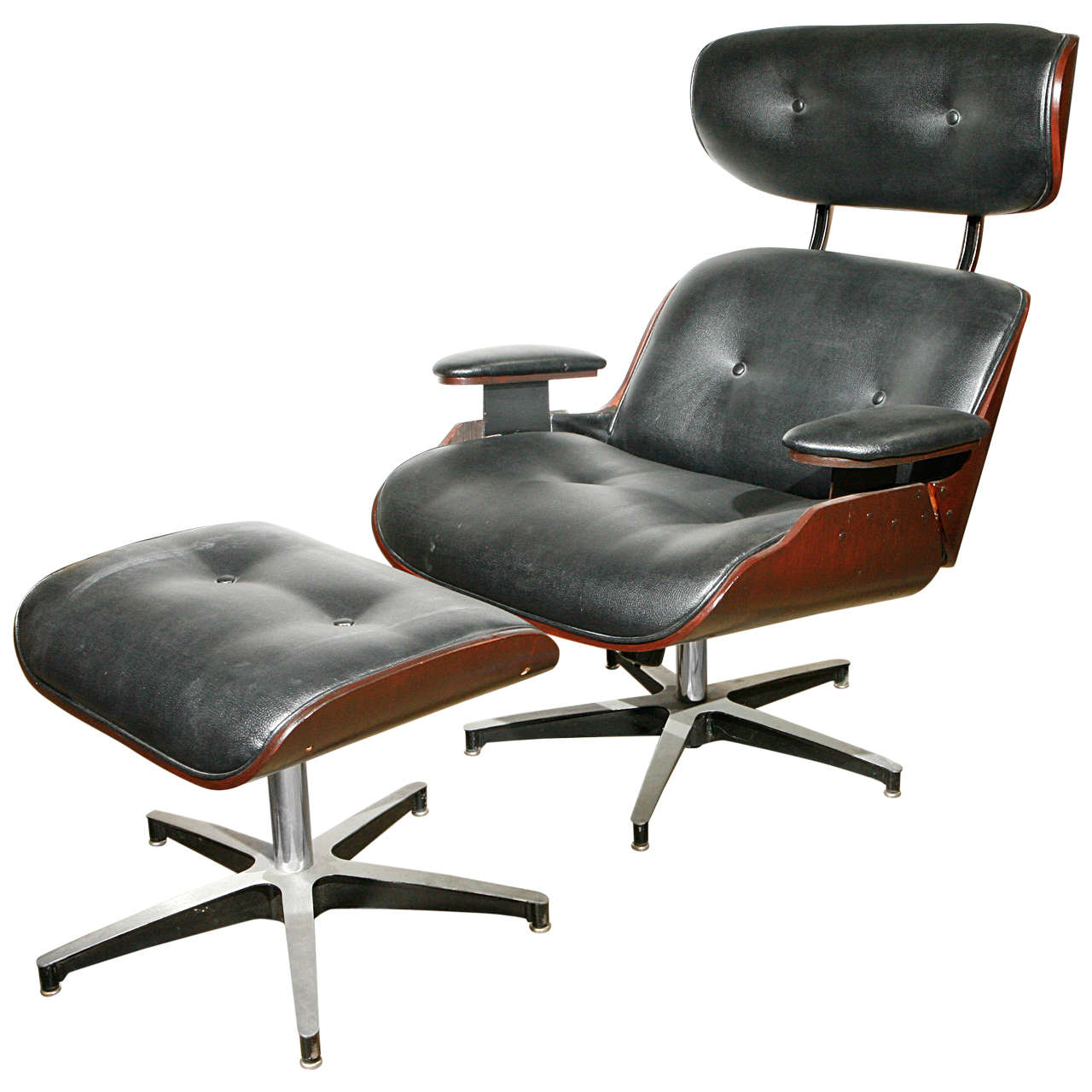Lounge Chair and Ottoman in the Eames Style by Selig at 1stdibs