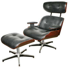 Lounge Chair and Ottoman in the Eames Style by Selig