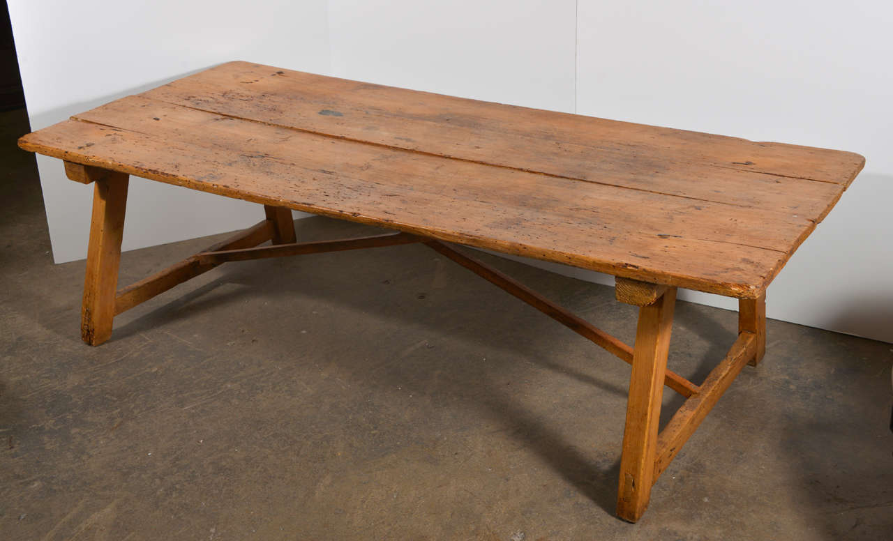 19 th c spanish pine coffee table at 1stdibs for Pine coffee table