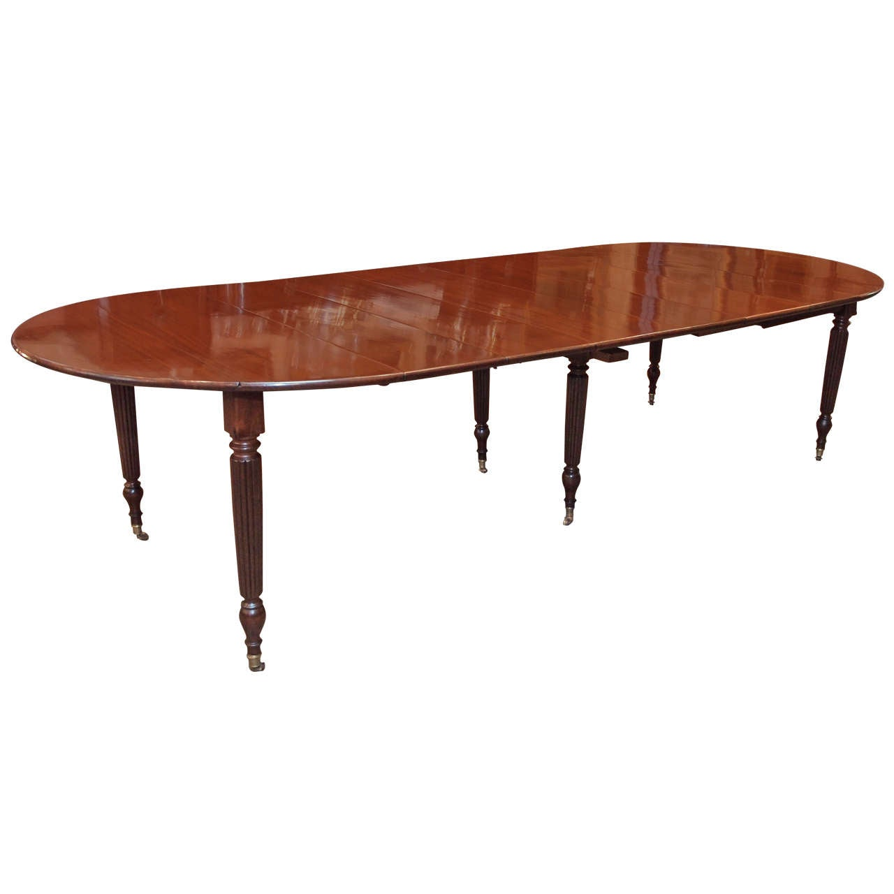 French louis philippe mahogany dining table with fluted for Table louis philippe