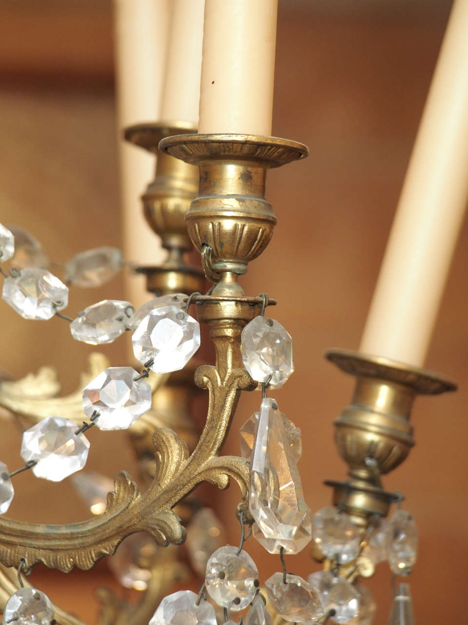 French Charles X Bronze and Crystal Chandelier with Eighteen Arms 9