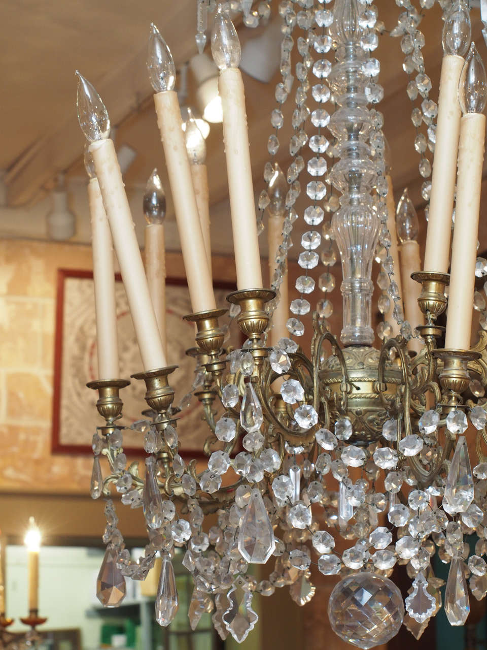 French Charles X Bronze and Crystal Chandelier with Eighteen Arms 10
