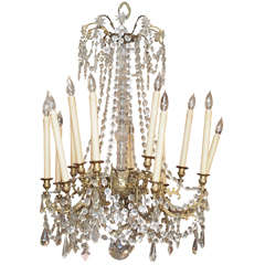 French Charles X Bronze and Crystal Chandelier with Eighteen Arms