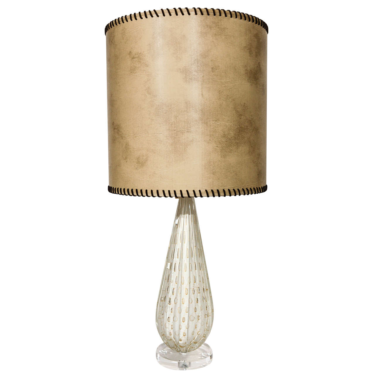 vintage murano white and gold table lamp at 1stdibs. Black Bedroom Furniture Sets. Home Design Ideas