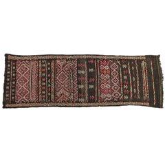 Moroccan African Tuareg Vintage Black Runner Rug