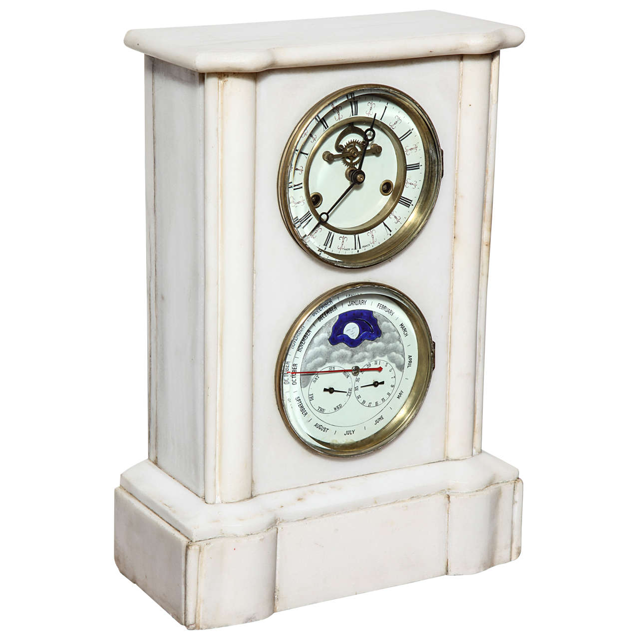 19th Century French Marble Calendar and Moon Phase Clock