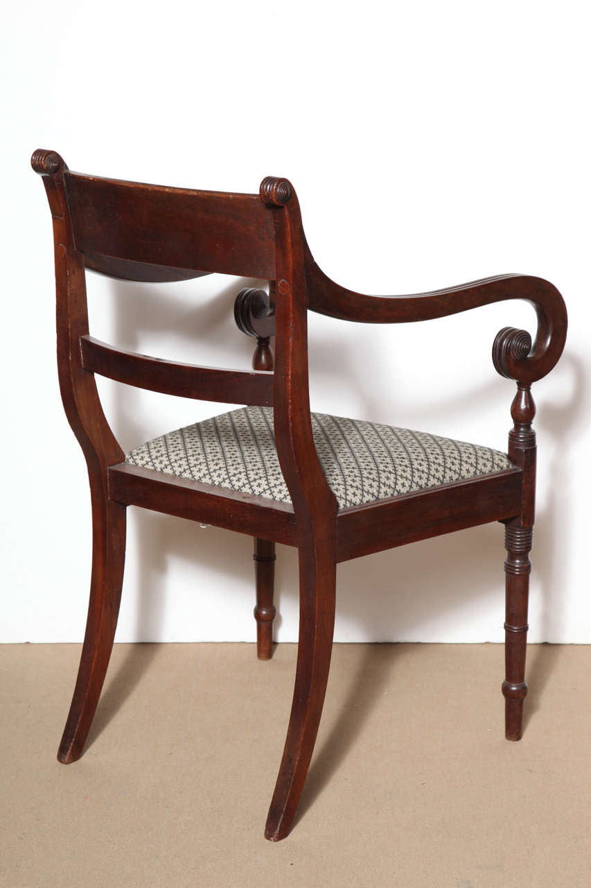 Mahogany Set of Eight English Regency Dining Chairs For Sale