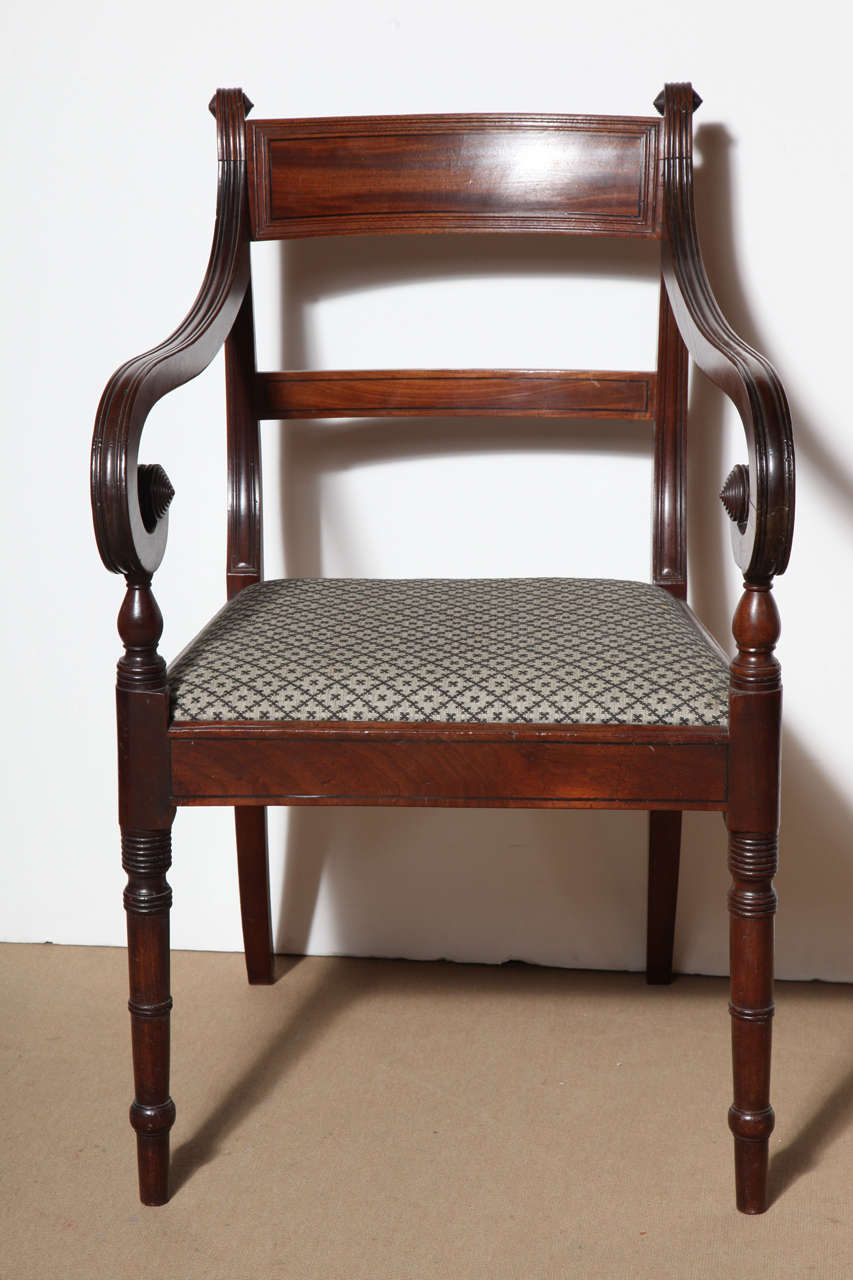 Set of Eight English Regency Dining Chairs For Sale 1