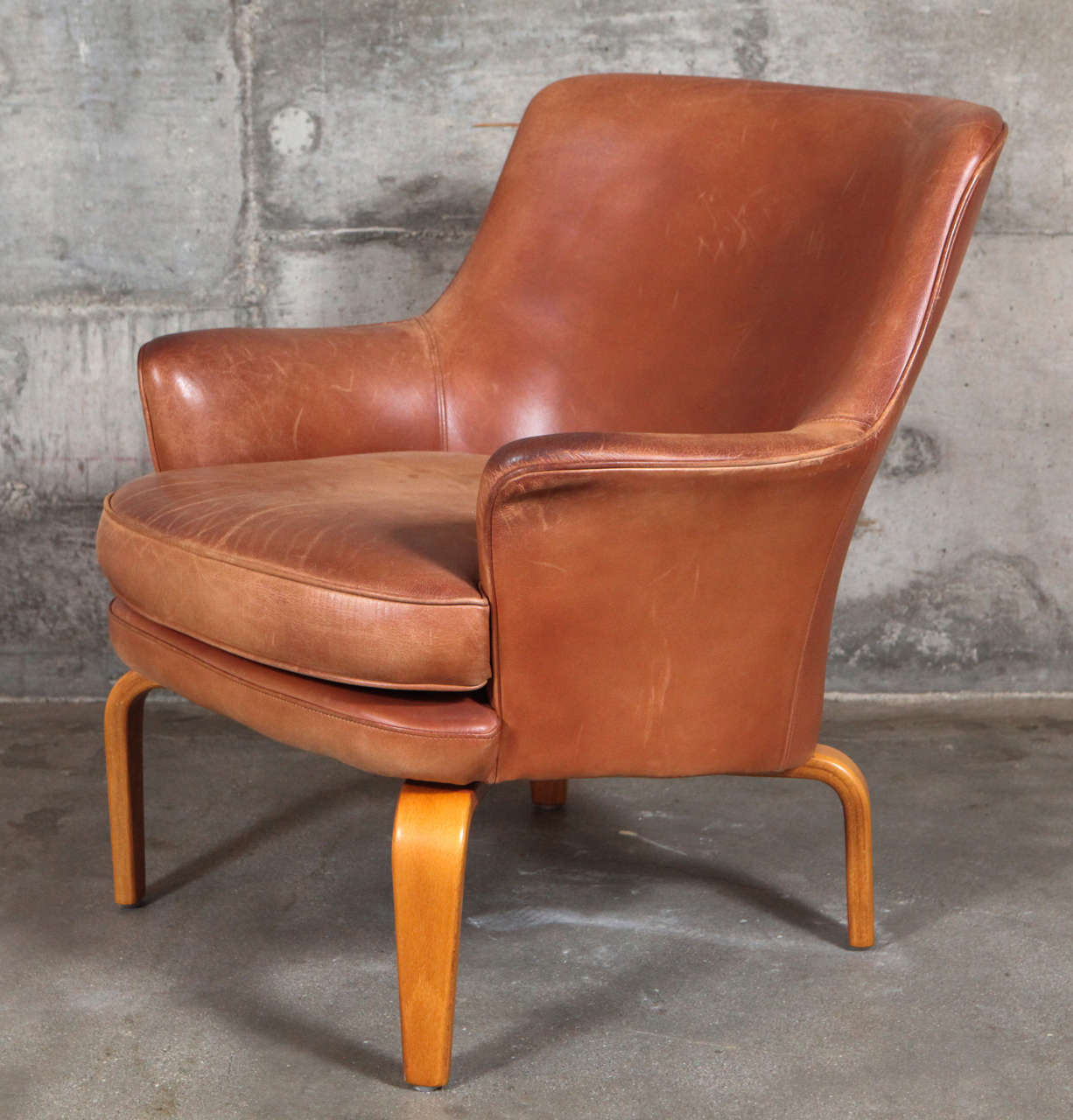 Leather Pair of Arne Norell 'Pilot' Lounge Chairs