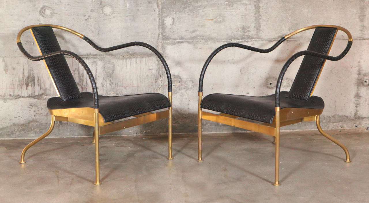 Beau Two Mats Theselius U0027EL REYu0027 Brass And Leather Easy Chairs, Kallemo AB,