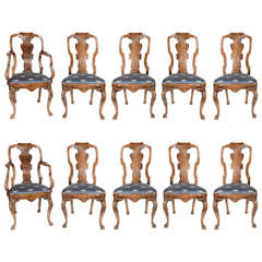 Set of 12 Queen Anne Dining Chairs