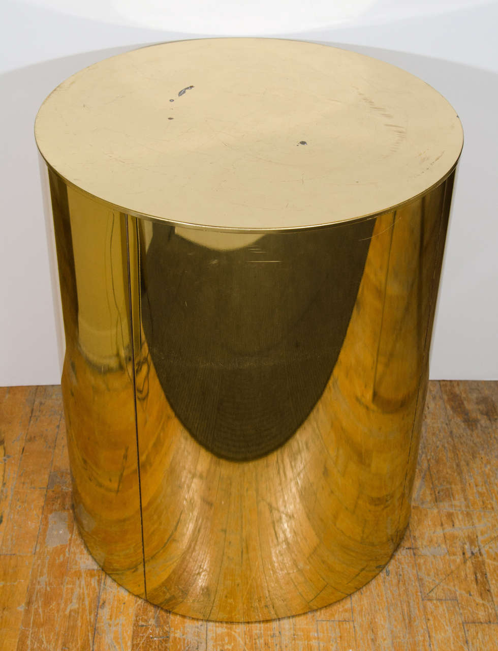 Merveilleux A Vintage Cylindrical Brass Drum Table Signed C. Jeré. Can Be Used As A