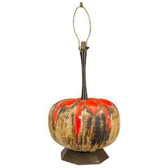 Midcentury Monumental Lava Glaze Ceramic Table Lamp
