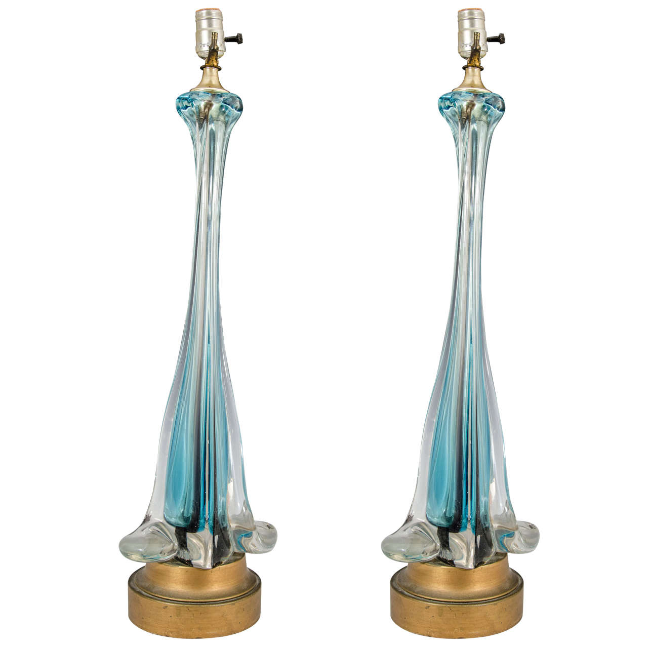 Blue glass table lamps - Midcentury Pair Of Tall Blue And Clear Murano Glass Table Lamps 1