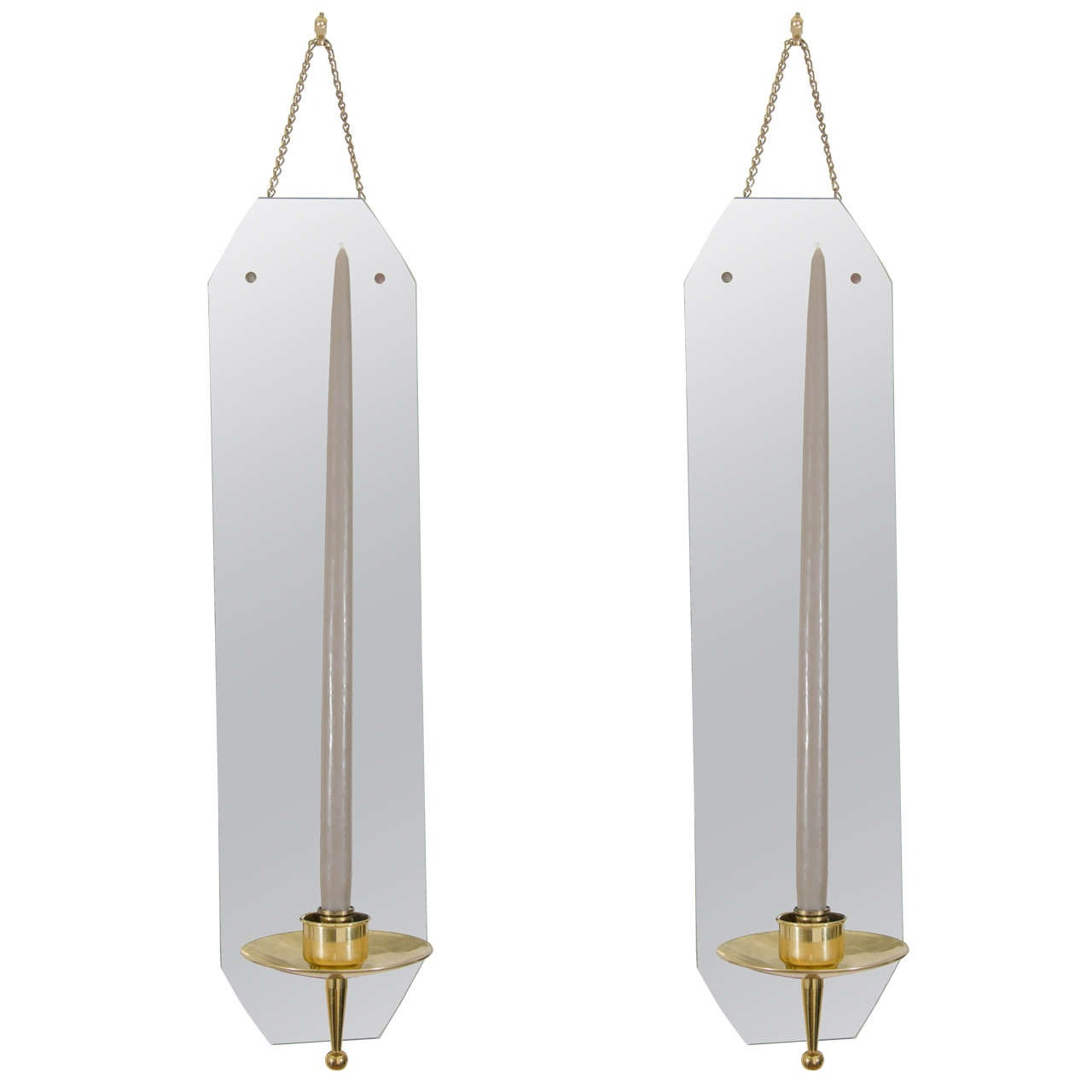 Brass Wall Sconces Candle Holders : Tommi Parzinger Style Mirror and Brass Wall Candle Sconces at 1stdibs