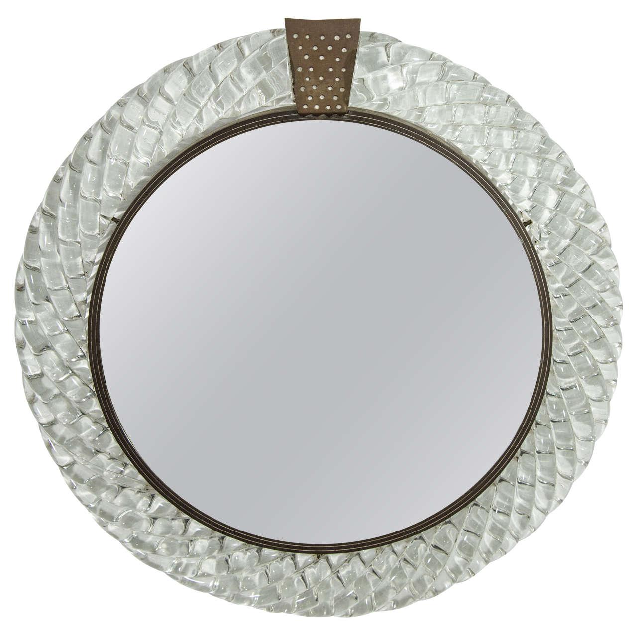 Italian Murano Glass and Bronze Wall Mirror