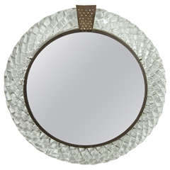 1940s Venini Italian Murano Glass and Bronze Wall Mirror