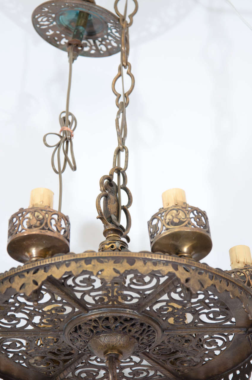 1920s Bronze Oscar Bach Chandelier At 1stdibs