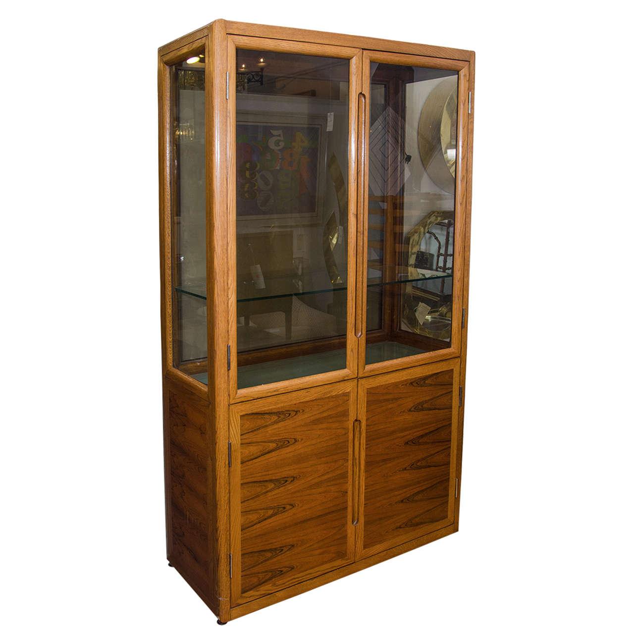Superbe Midcentury Dunbar Double Door Wood And Glass Display Cabinet For Sale