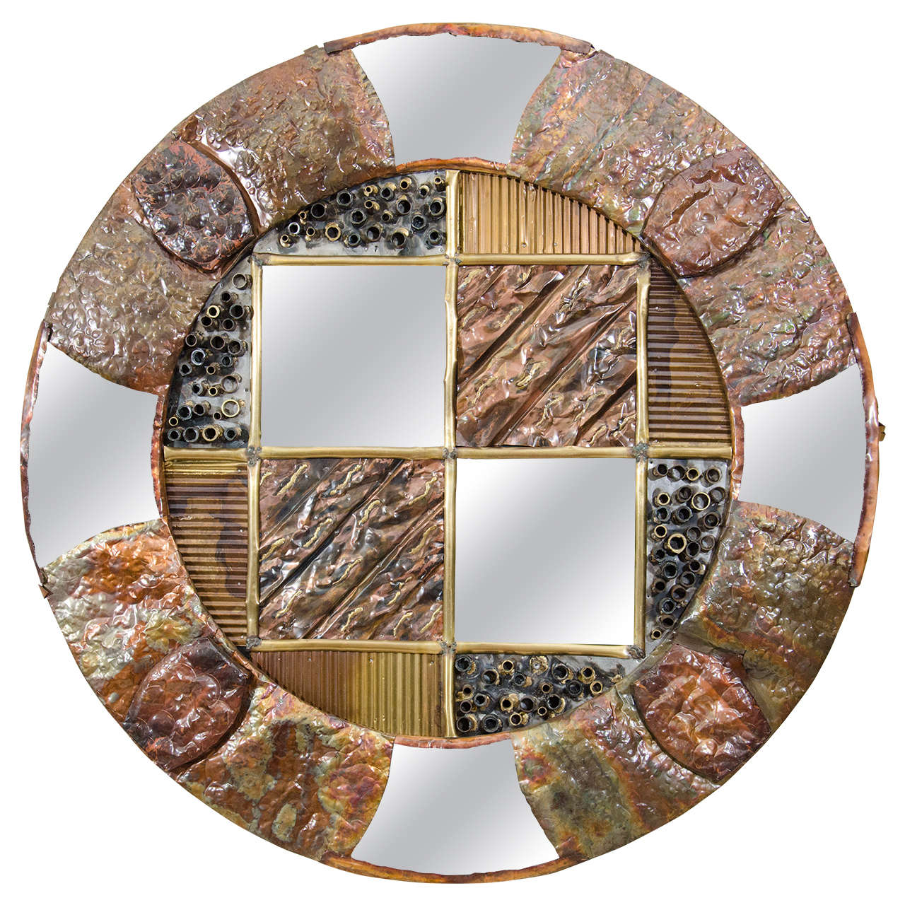 Brutalist Circular Copper Wall Mirror