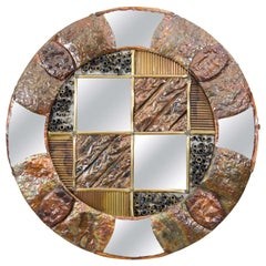 Brutalist Circular Copper Wall Mirror