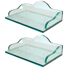 Pair of Solid Glass Trays or Shelves