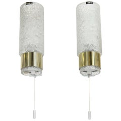 A Pair of Doria Sconces in Textured Glass and Brass