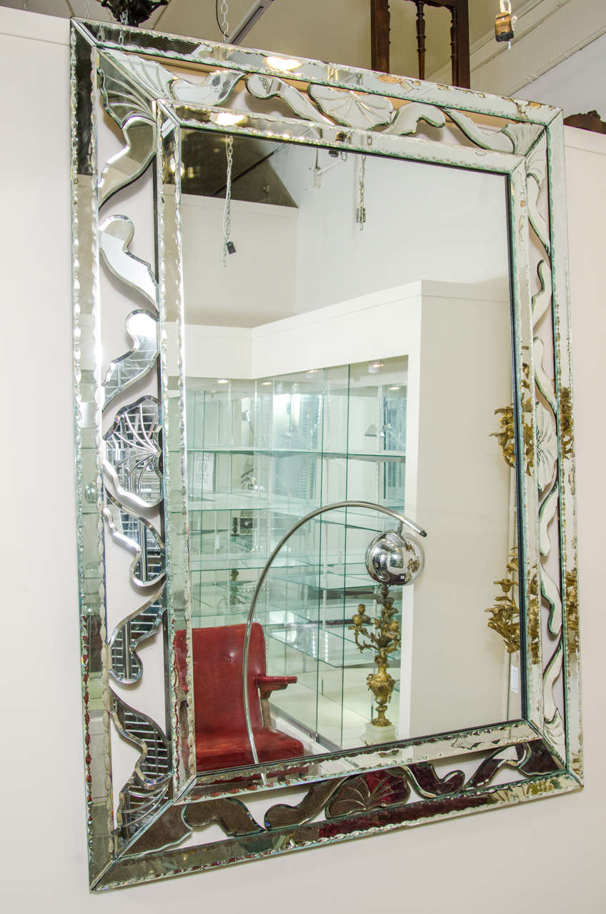 Midcentury Large Decorative Venetian Wall Mirror At 1stdibs