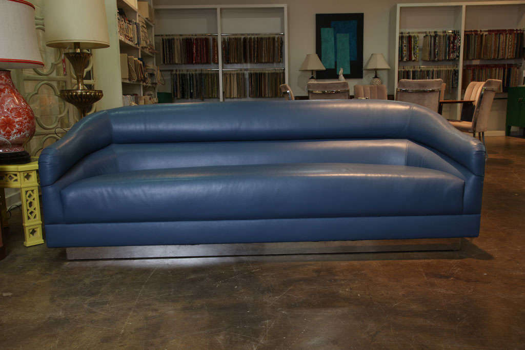 Blue Leather Sofa with Brass Plinth Base 2