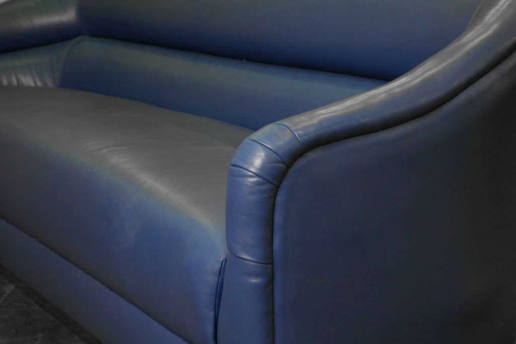 Blue Leather Sofa with Brass Plinth Base 3