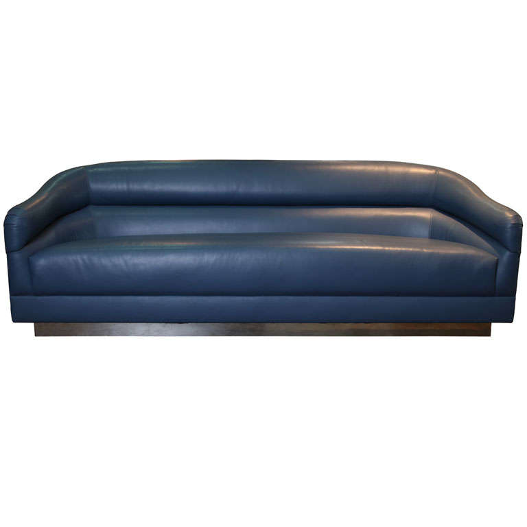 Blue Leather Sofa with Brass Plinth Base 1
