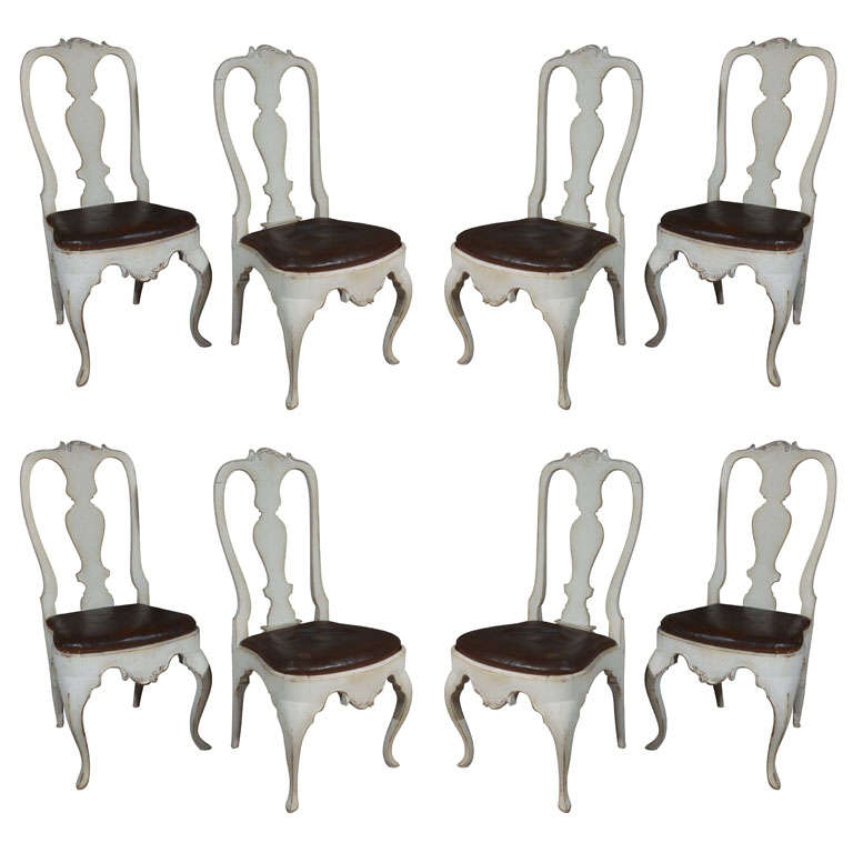Eight Scandinavian Rococo Dining Chairs At 1stdibs