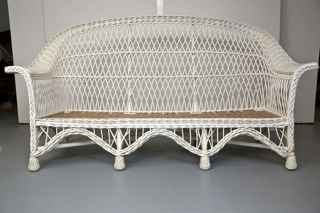 Vintage Wicker Sofa White Antique Wicker Sofa After