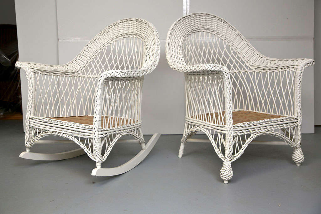 Antique Bar Harbor Wicker Chair And Rocker At 1stdibs