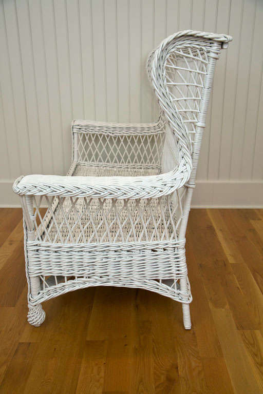 Rare Antique Wicker Wing Back Settee At 1stdibs