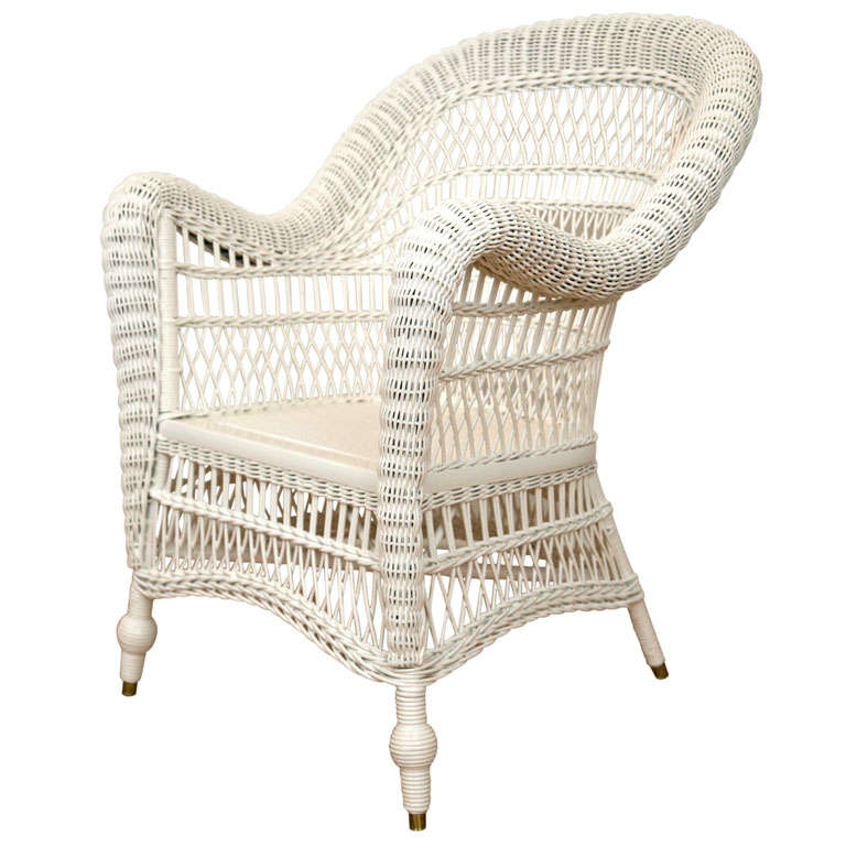 Antique Victorian Wicker Arm Chair 1